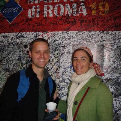 Jill and Dave_Marathon Wall Rome